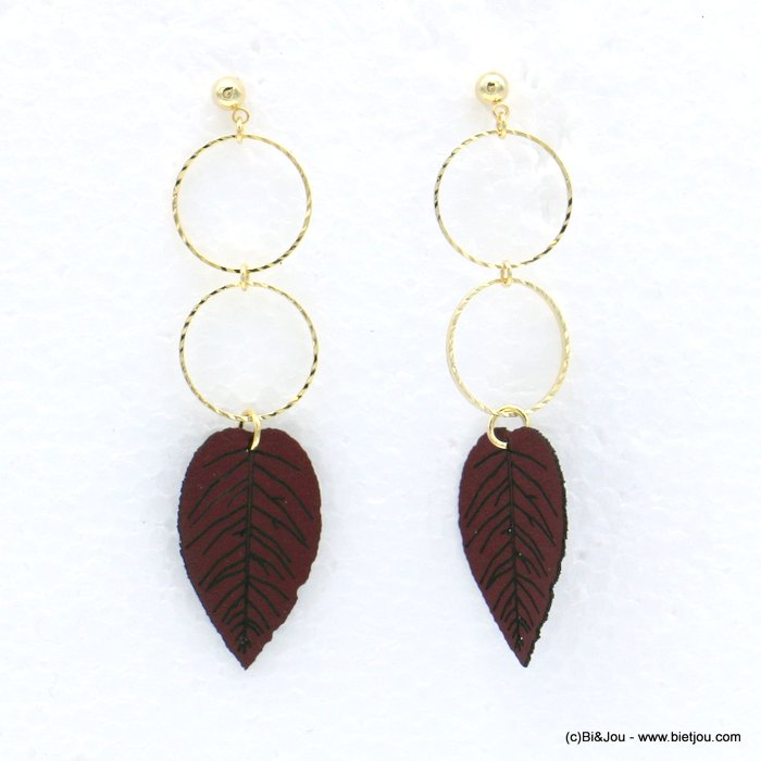 earrings 0318607-10 faux-leather leaf striped metal ring synthetic stud clasp 16x65mm