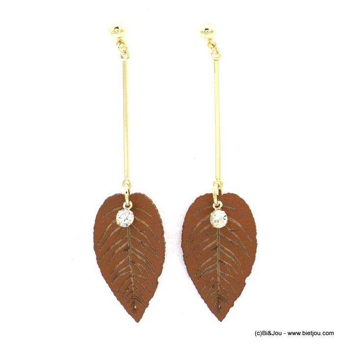 earrings 0318608-02 faux-leather synthetic leaf metal bar rhinestone stud clasp 16x65mm