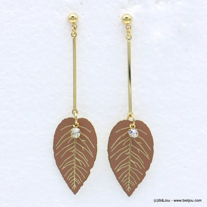 earrings 0318608-06 faux-leather synthetic leaf metal bar rhinestone stud clasp 16x65mm