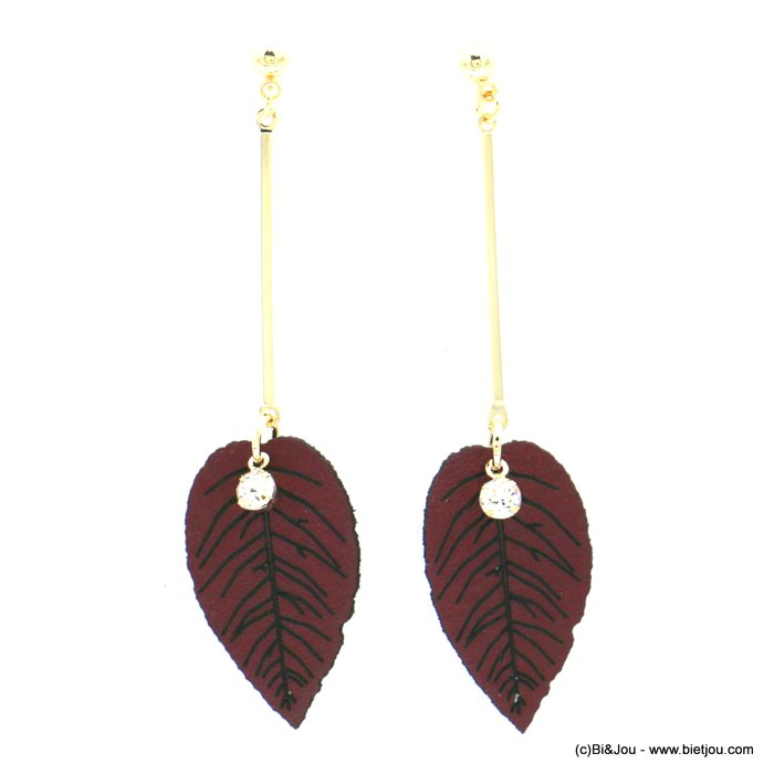 earrings 0318608-10 faux-leather synthetic leaf metal bar rhinestone stud clasp 16x65mm