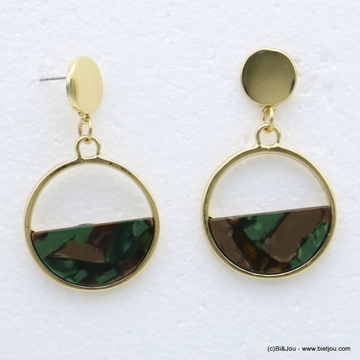 earrings 0318612-03 nail clasp tortoise shell resin-metal 30x55mm
