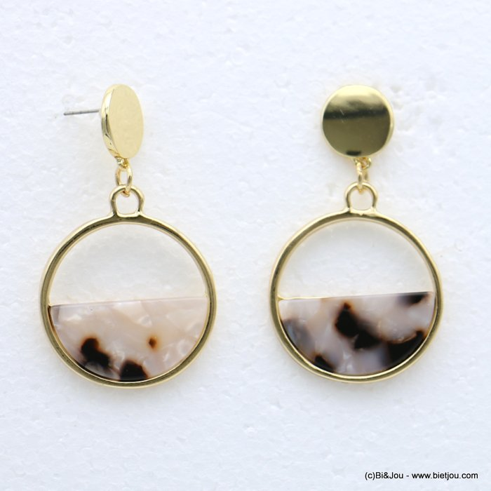 earrings 0318612-06 nail clasp tortoise shell resin-metal 30x55mm
