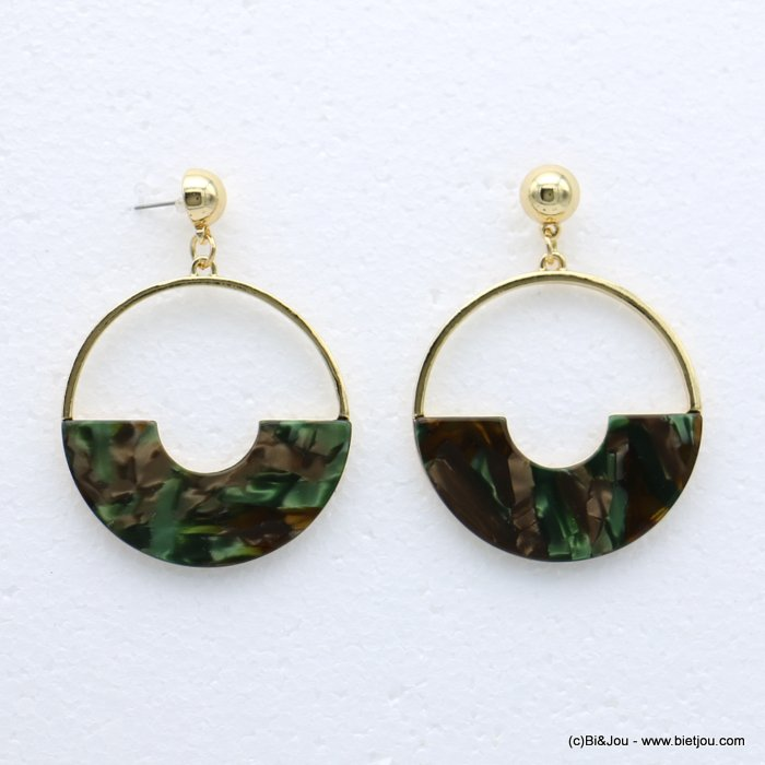 earrings 0318613-03 nail clasp tortoise shell resin-metal 47x65mm