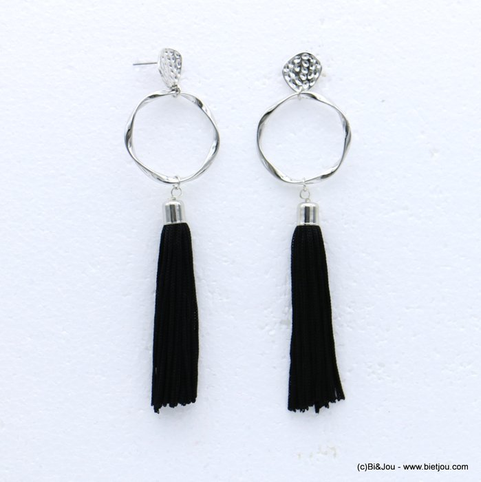 earrings 0318614-01 tassel metal-polyester stud clasp 34x127mm