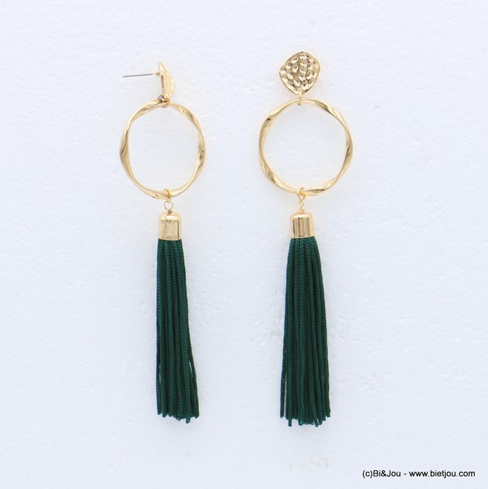 earrings 0318614-03 tassel metal-polyester stud clasp 34x127mm