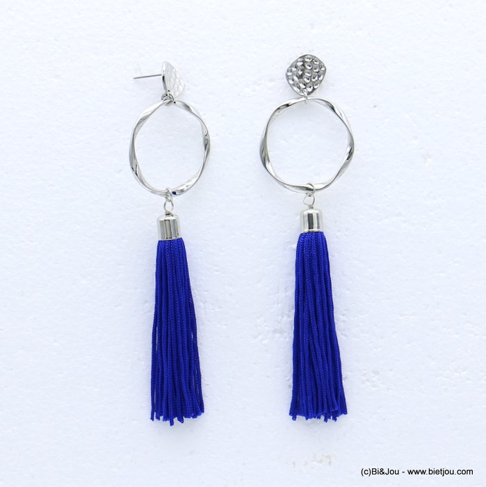 earrings 0318614-09 tassel metal-polyester stud clasp 34x127mm
