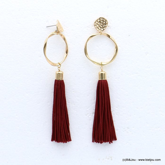 earrings 0318614-10 tassel metal-polyester stud clasp 34x127mm
