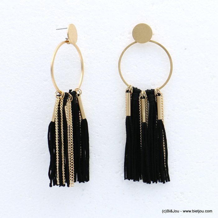 earrings 0318615-01 tassel metal-polyester stud clasp 35x100mm