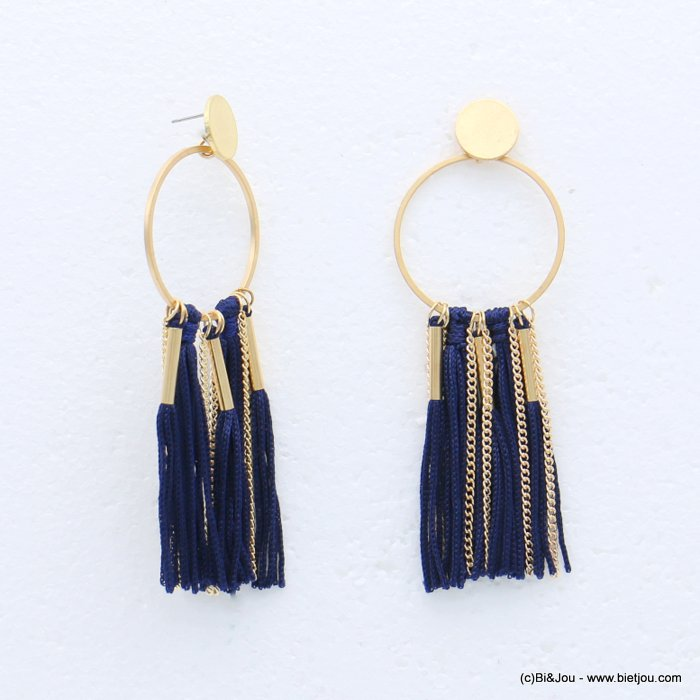 earrings 0318615-09 tassel metal-polyester stud clasp 35x100mm