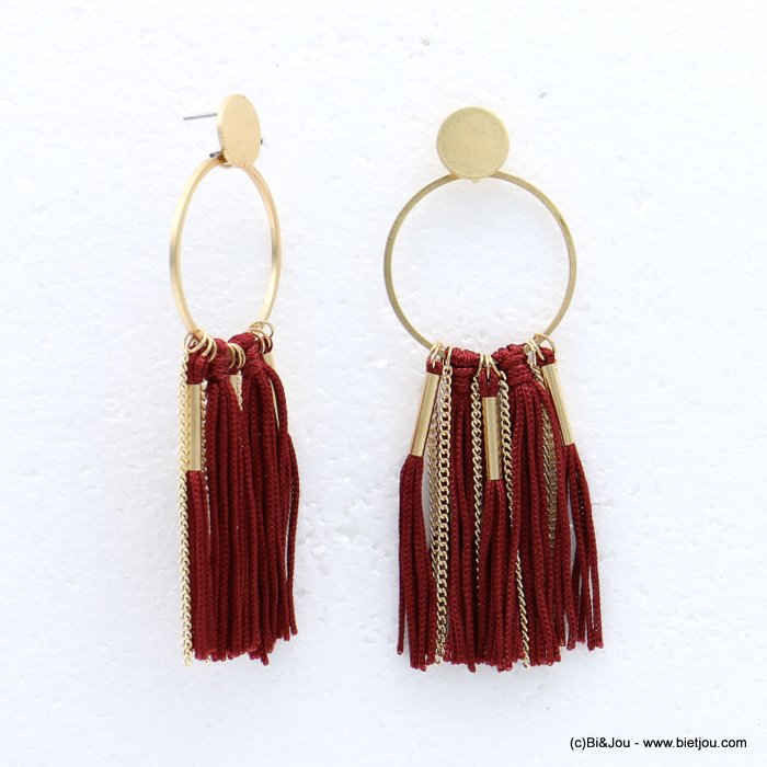 earrings 0318615-10 tassel metal-polyester stud clasp 35x100mm