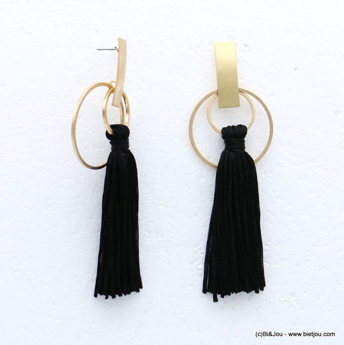 earrings 0318616-01 tassel metal-polyester stud clasp 35x105mm