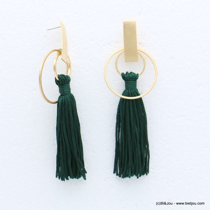 earrings 0318616-03 tassel metal-polyester stud clasp 35x105mm