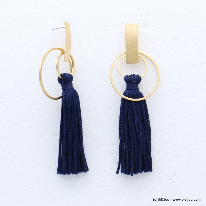 earrings 0318616-09 tassel metal-polyester stud clasp 35x105mm