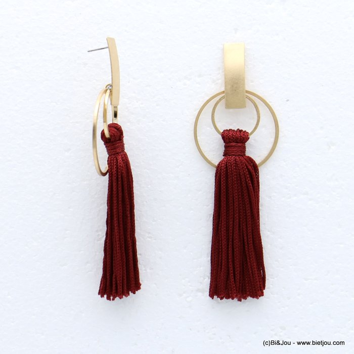 earrings 0318616-10 tassel metal-polyester stud clasp 35x105mm