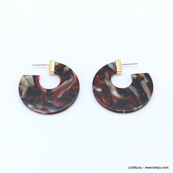 earrings 0318617-10 nail clasp tortoise shell resin-metal 42x43mm