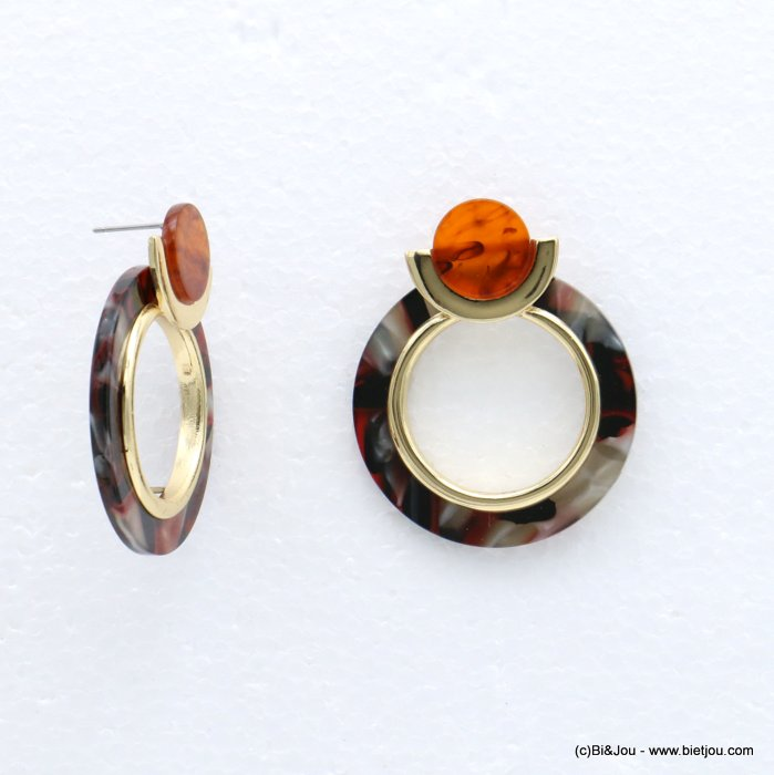 earrings 0318618-10 tortoise shell resin vintage woman stud clasp 38x45mm