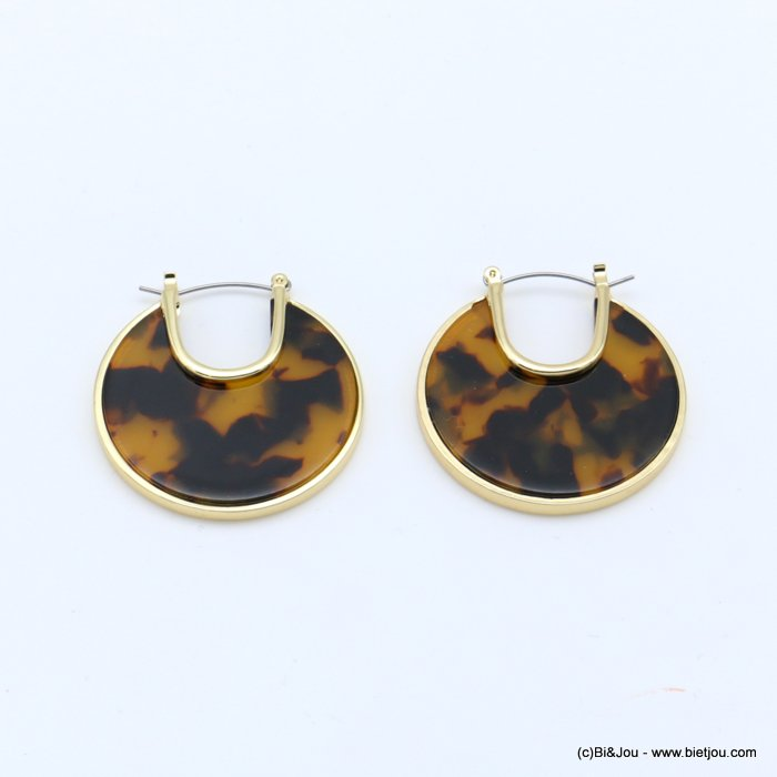 earrings 0318619-02 flat hoop tortoise shell resin vintage woman french clip 38mm