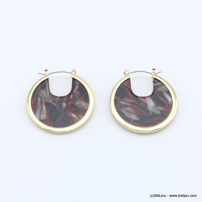 earrings 0318619-10 flat hoop tortoise shell resin vintage woman french clip 38mm