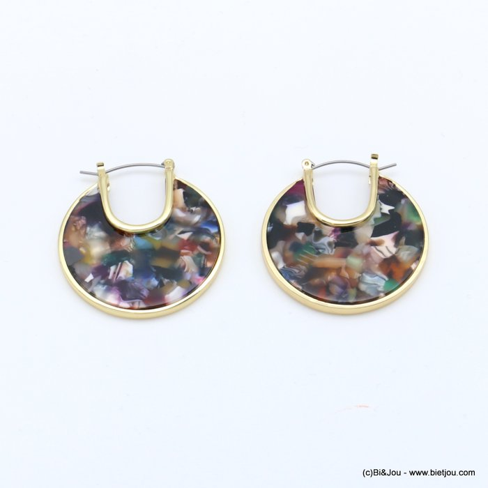 earrings 0318619-99 flat hoop tortoise shell resin vintage woman french clip 38mm