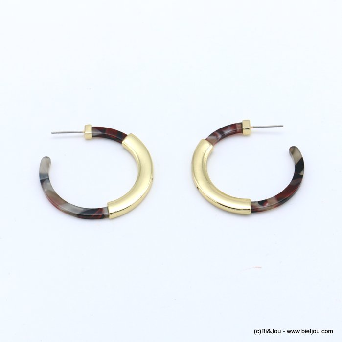 earrings 0318620-10 hoop tortoise shell resin vintage woman stud clasp 40mm