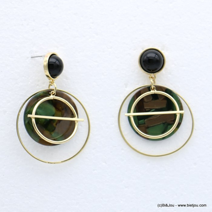 earrings 0318623-03 nail clasp tortoise shell resin-metal-acrylic 37x56mm