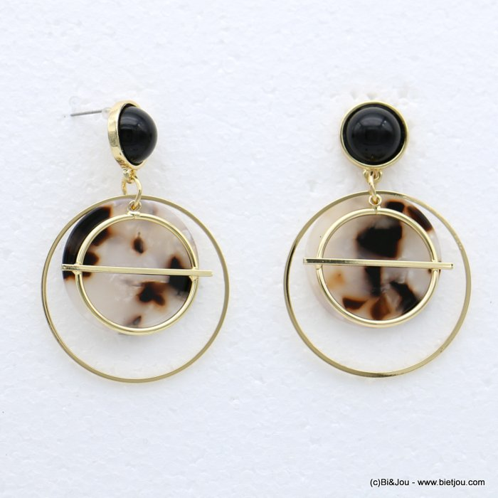 earrings 0318623-06 nail clasp tortoise shell resin-metal-acrylic 37x56mm