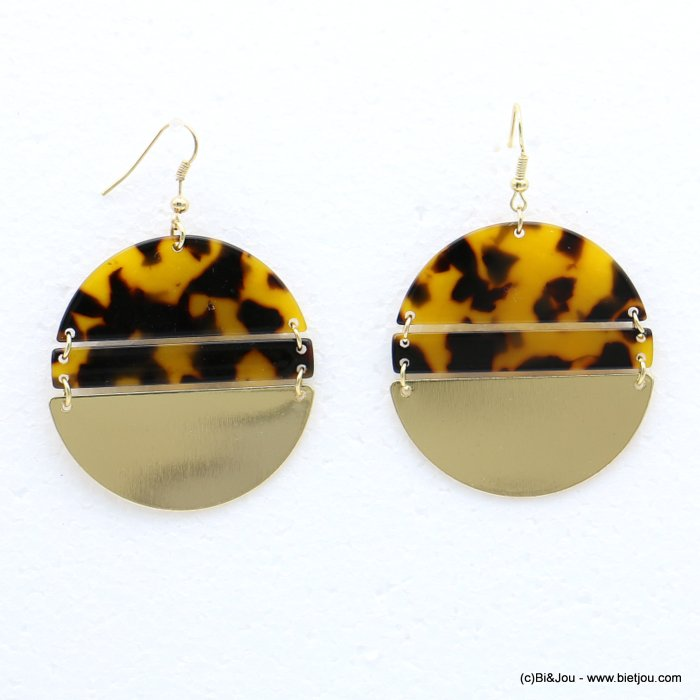 earrings 0318625-02 fish hook clasp tortoise shell resin-metal 45x67mm
