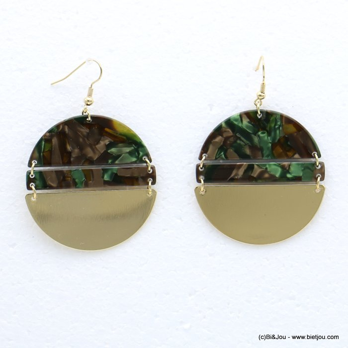 earrings 0318625-03 fish hook clasp tortoise shell resin-metal 45x67mm