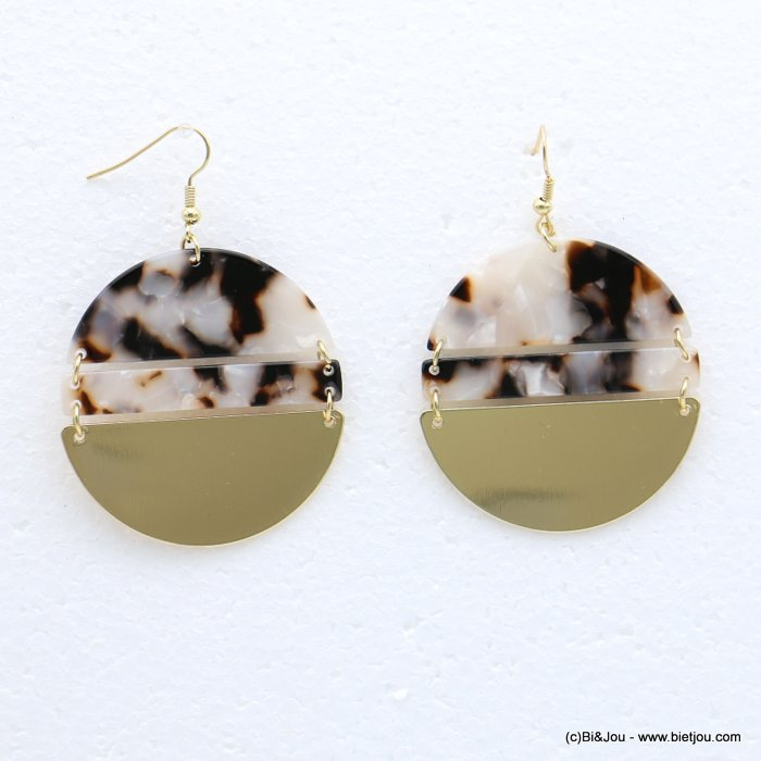earrings 0318625-06 fish hook clasp tortoise shell resin-metal 45x67mm