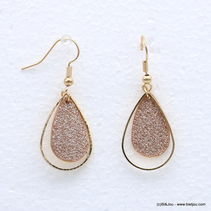 earrings 0318631-14 glitter metal 16x44mm