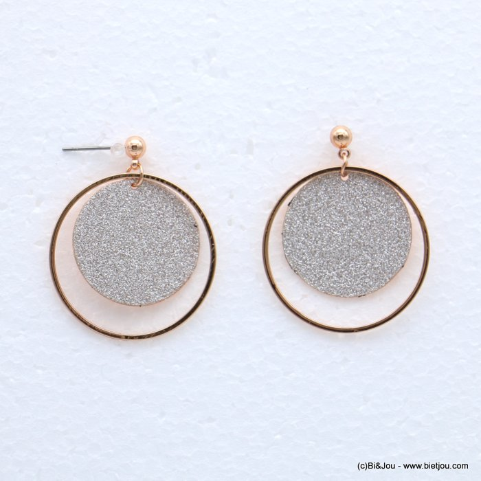 earrings 0318634-23 glitter metal 30x36mm