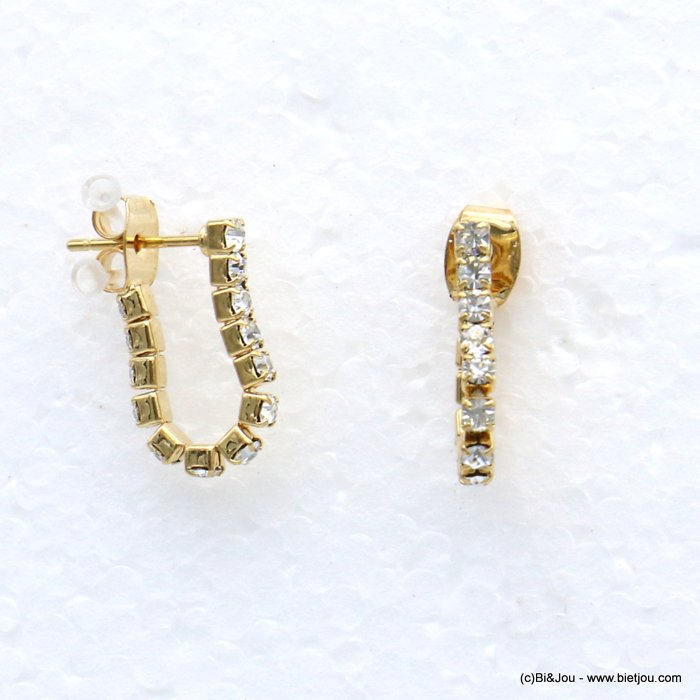 earrings 0318656-14 metal-rhinestone nail clasp 2x16mm