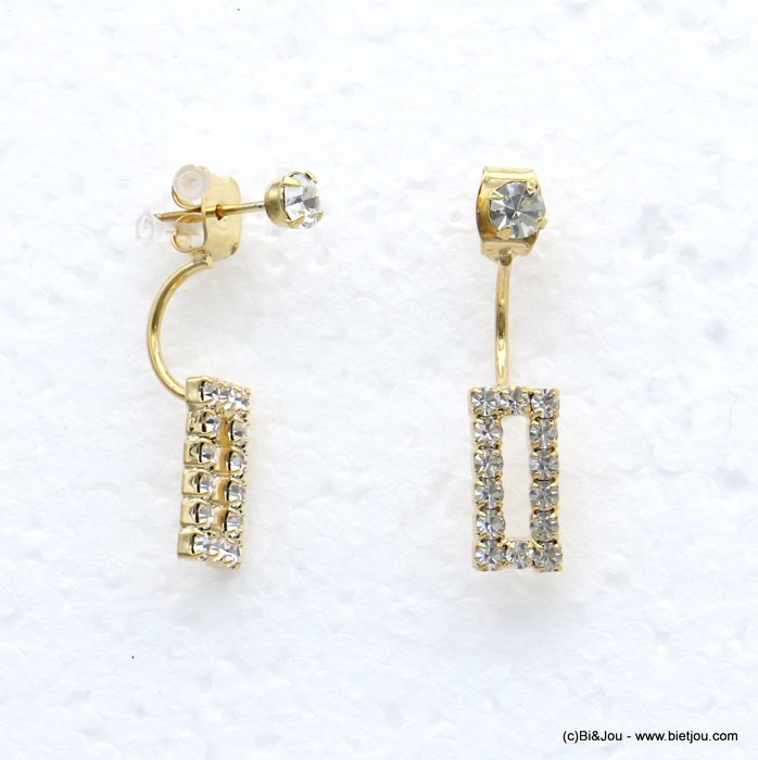 earrings 0318657-14 ear jacket metal-rhinestone nail clasp 6x27mm
