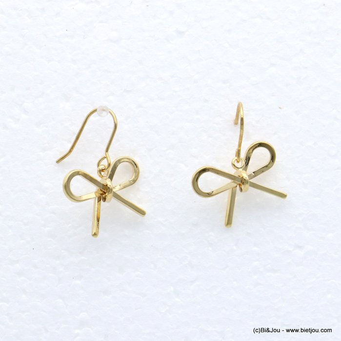 earrings 0318682-14 bowknot metal fish hook clasp 19x25mm