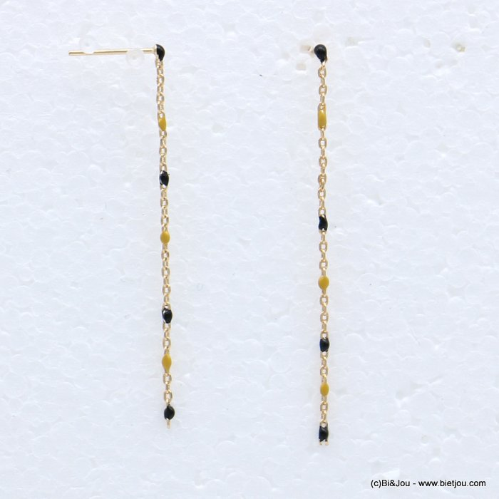 earrings 0318697-01 threader enamel metal thin chain nail clasp 50mm