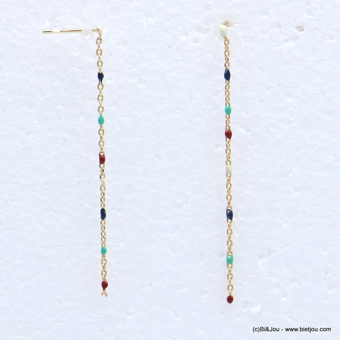 earrings 0318697-99 threader enamel metal thin chain nail clasp 50mm