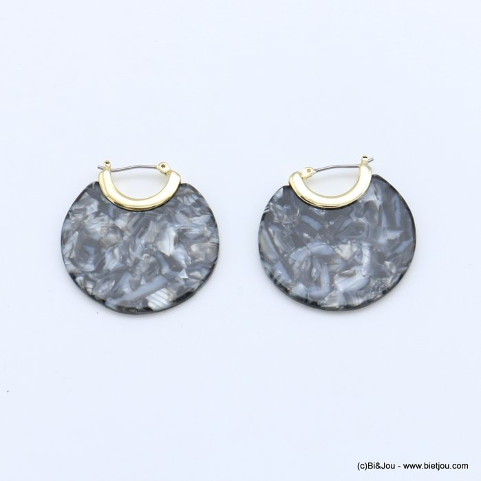 earrings 0318701-26 flat hoop tortoise shell resin vintage woman french clip 35mm