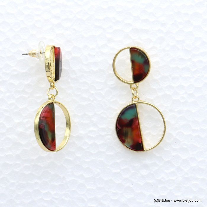 earrings 0319003-10 tortoise shell resin metal rings stud clasp 20x45mm