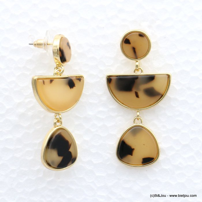 earrings 0319004-06 tortoise shell resin metal stud clasp 25x50mm