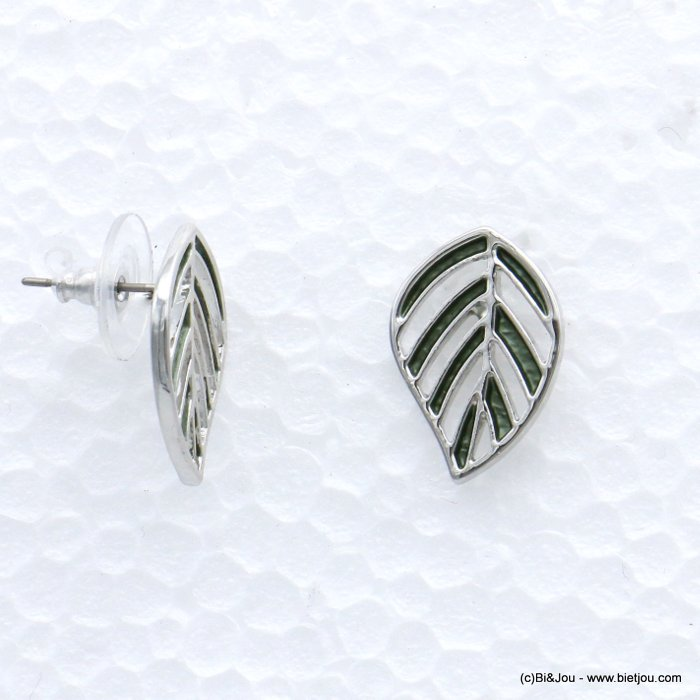 earrings 0319020-17 leaf fern coloured metal woman stud clasp 14x20mm