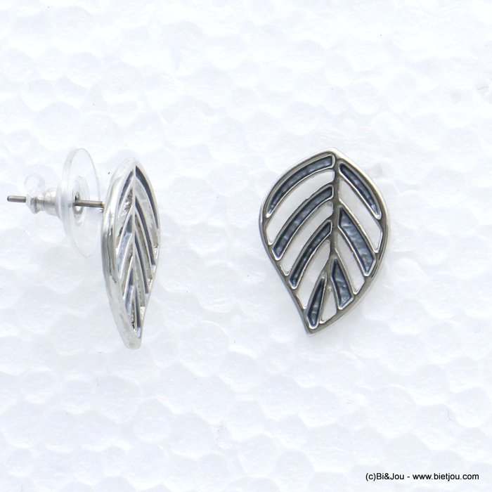 earrings 0319020-25 leaf fern coloured metal woman stud clasp 14x20mm