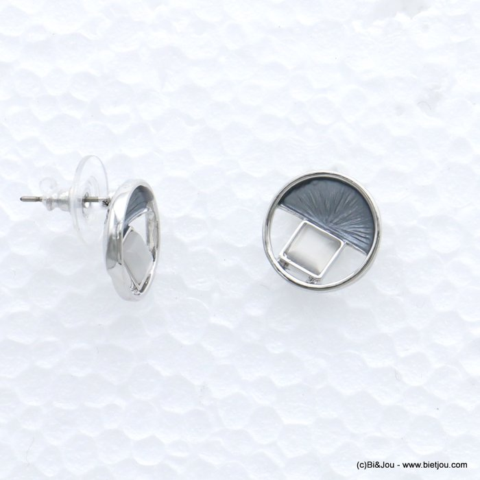 earriings 0319021-25 geometric abstract glass coloured metal woman stud clasp 15mm