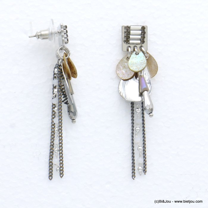 earrings 0319037-25 metal-crystal-shell-glass 13x60mm