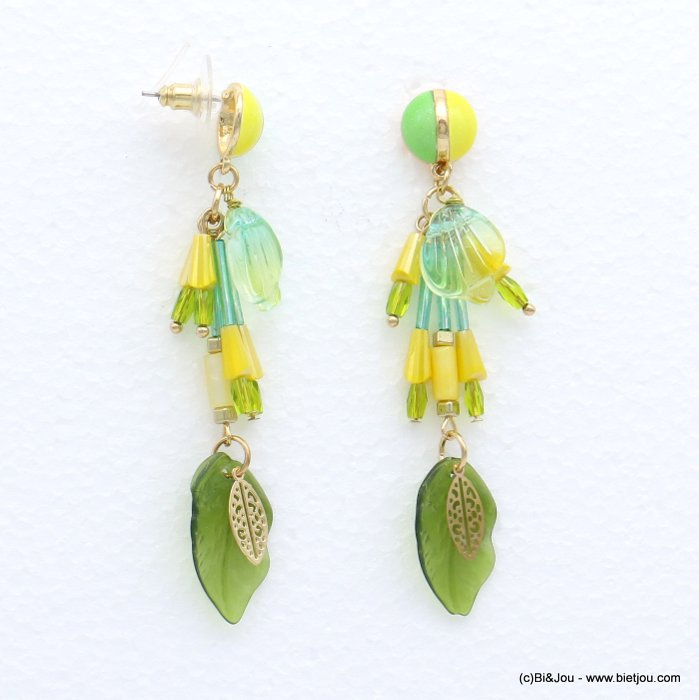 earrings 0319039-07 leaf metal-enamel-crystal-glass-shell-acrylic 15x75mm