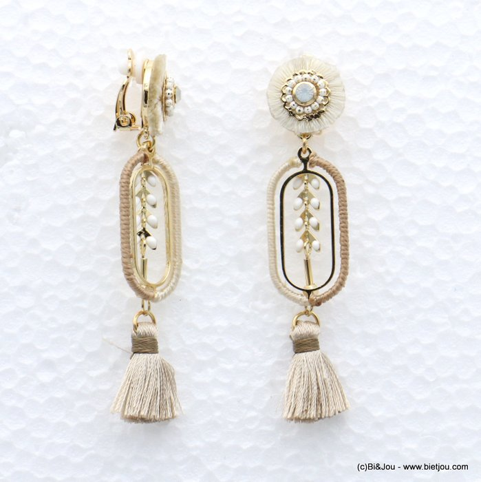 earrings 0319041-06 tassel épis de blé metal-strass-polyester 16x75mm