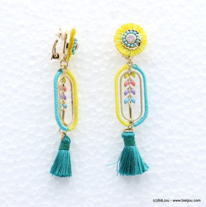 earrings 0319041-07 tassel épis de blé metal-strass-polyester 16x75mm