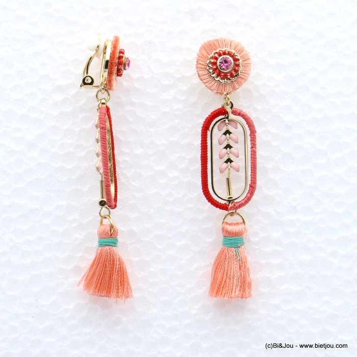 earrings 0319041-12 tassel épis de blé metal-strass-polyester 16x75mm
