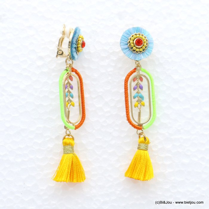earrings 0319041-99 tassel épis de blé metal-strass-polyester 16x75mm