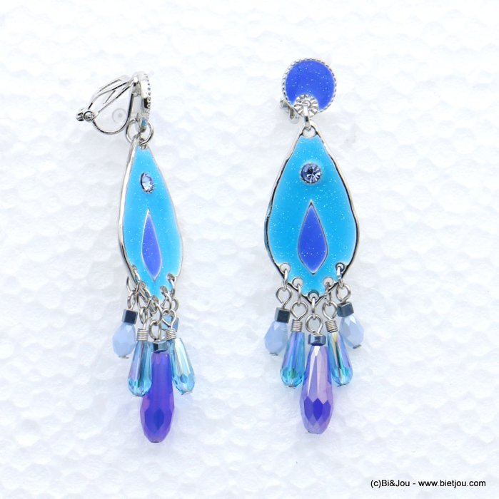 earrings 0319042-09 metal-enamel-crystal-strass 16x65mm
