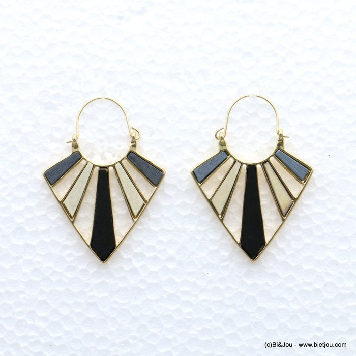 earrings 0319046-01 geometric metal-wood saddle-back clasp 40x55mm